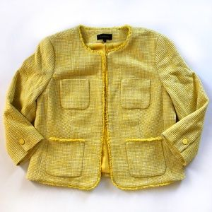 Talbots yellow tweed jacket dressy blazer NWOT
